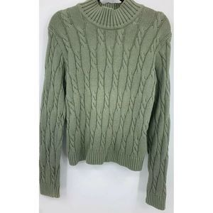 L.L. Bean womens medium sweater cable knit cotton